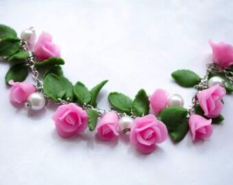 Wedding bracelet, bridal bracelet, bridal accessory, cold porcelain, bridesmaid accessory, bridesmaid bracelet, flowers accessory, flowers