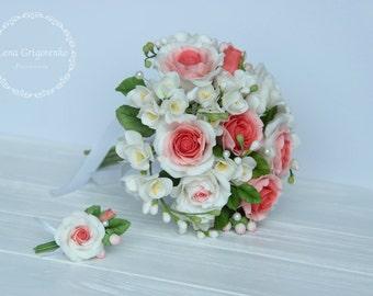 bride bouquet, cold porcelain, roses bouquet, groom boutonniere, bouquet for memory, bridesmaids bouquet, fresia bouquet, custom bouquet