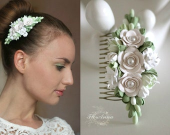green comb, flower comb, wedding stuff, bride comb, fresia corsage, bridesmaids comb, gift for her, olive headband, rose comb, olive white