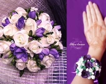 bride bouquet, bride bracelet, roses bride bouquet, navy blue bouquet, roses bride, blue bride bouquet, bridesmaid corsage, bridal navy blue