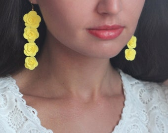 flower earrings, yellow earrings, fresia earrings, gift for her, bridesmaids earrings, red bridal jewellery, ivory jewellery, white flower