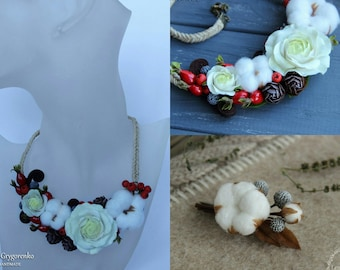 cotton necklace, cotton earrings, cotton jewelery, bridesmaids earrings, rustic bride, flower necklace, bridal cotton jewelery, cotton