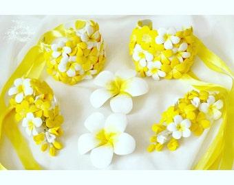 wedding set, plumeria bracelet, yellow bracelet, yellow bride, yellow headband, bridesmaids gift, wedding plumeria, girls gift, plumeria