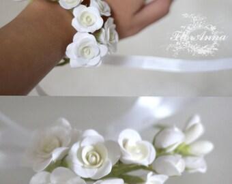 roses bracelet, roses corsage, bride bracelet, bridal corsage, flower bracelet, flower corsage, bracelet for bride, birthday women gift