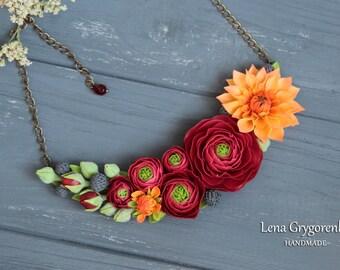 buttercup necklace, cold porcelaine, buttercup jewellery, buttercup wedding, red jewellery, buttercup bridal jewellery, bridal necklace