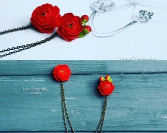 peony brooch, peony pendant, peony jewelery, bridesmaids collar, peony collar, flower broich, bridal red pendant, flower collar, custom
