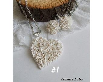 rose earrings, white rose earrings, roses pendant, gift for her, bridesmaids earrings, roses bridal jewellery, red jewellery, flower earring