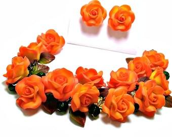 roses jewellery, roses earrings, wedding stuff, bride earringd, coral earrings, bridesmaids bracelet,  coral bracelet, coral wedding