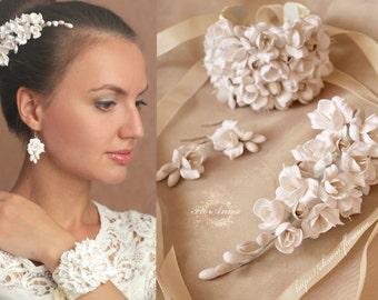bride jewellery set, flower set, wedding stuff, bride hairclip, ivory hair, bridesmaids, ivory headband, ivory bracelet, ivory earrings