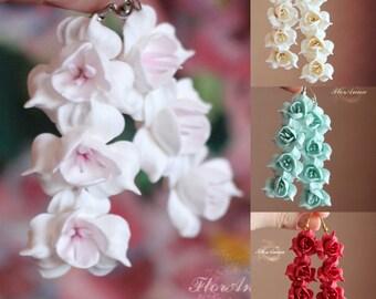 flower earrings, white earrings, fresia earrings, gift for her, bridesmaids earrings, red bridal jewellery, ivory jewellery, white flower