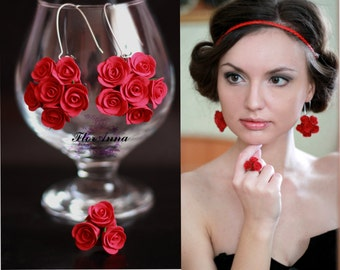 red earrings, flower set, wedding stuff, flower earrings, red ring, bridesmaids jewellery, red rose, roses jewellery, bride jewellery set