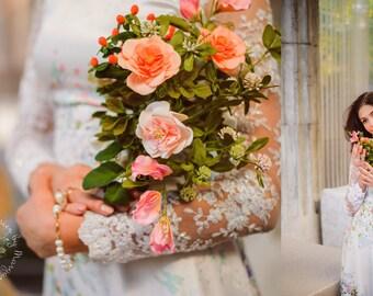 roses bouquet, bride bouquet, peach bride bouquet, peach roses bouquet, bride roses, flower accessory, bridesmaid bouquet, peach rosed