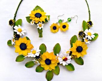 sunflower jewelery, sunflower earring, leaves necklace, sunflower necklace, yellow earrings, sunflower jewerly set, sunflower brooch, summer