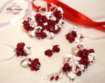 bride jewelery set, red flower bracelet, red earrings, red wedding, red jewellery, bridal hairclip , bridal corsage, flower hair accessory