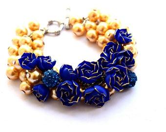 peony jewelery, blue bracelet, pearl bracelet, flower bracelet, blue jewelery, pearl jewerly, bridesaids bracelet, summer accessories, girl