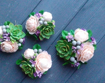 succulent hair accessory, succulent cake topper, cold porcelain, succulent barrette, rustic cake decor, headband with succulent, succulent