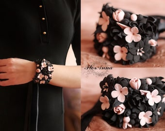 flower bracelet, flower headband, gift for her, Gothic style, bride jewelry, bridesmaids gift, black bride , black jewelry, black and white
