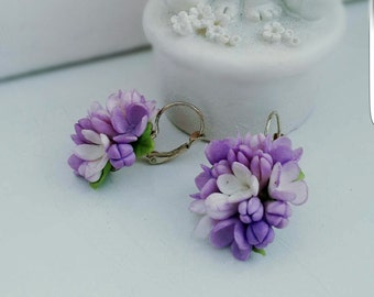 flower earrings, lilac earrings, gift for her, purple earrings, bride jewelry, bridesmaids gift, purple bride , lilac jewelry, wedding