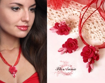 red rose jewellery, red flowers, wedding stuff, bride jewelry set, fresia earrings , bridesmaids pendant, red flower ring, red rosespendant