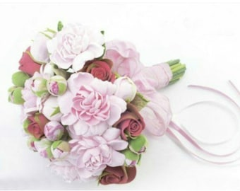 bride bouquet, cold porcelain, roses bouquet, peony bouquet, bouquet for memory, bridesmaids bouquet, bride peony bouquet, custom bouquet