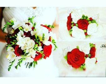 bride bouquet, bride bracelet, roses bride bouquet, red bouquet, roses bride, red bride bouquet, bridesmaid corsage, bridal red
