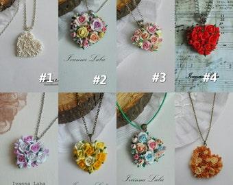 roses pendant, flower pendant, blue flower pendant, girl pendant, orange pendant, bridesmaids pendant, yellow flower pendant, gift for girl