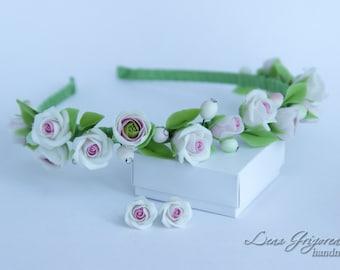 roses jewelry, cold porcelain, roses headband, rose earrings, mandarin gift, bride rose earrings, roses gift, bridesmaids gift, rose flower