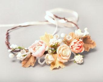 roses headband, roses wreath, blackberry wreath, bridesmaids crown, bride crown, blackberry crown, bridal rustic, pink wreath, custom bride