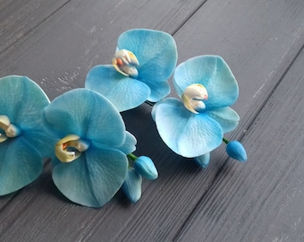 orchid hair accessory, orchid hairclip, cold porcelain, blue orchid accessory, red orchid, headband with orchid, orchid gift, birthday women