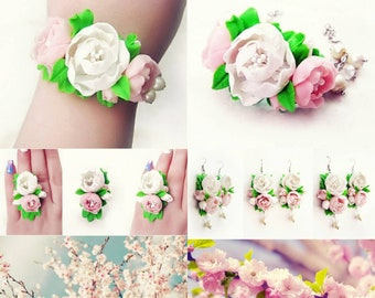 flowers earrings, wedding stuff, bride earrings, rustic earrings , bridesmaids earrings, flower gift, rustic wedding, women gift, rustic