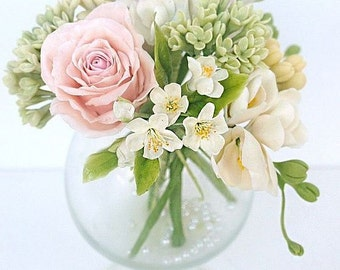 roses arrangement, lilac arrangement, apple blossoms, artificial flowers, clay flower, gift for sister, gift for her, housewarming gift,