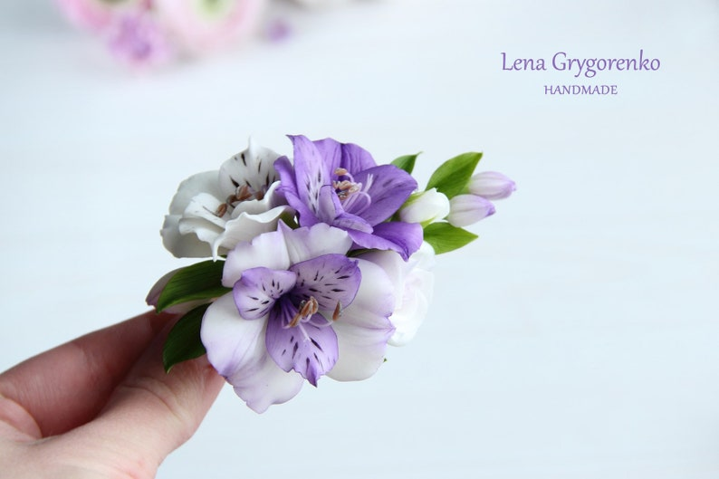 78fccf818161 Pinza de pelo de flores porcelana fría pelo alstroimeria