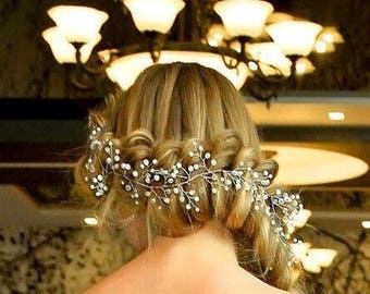 hair accessory, hair beads, bride jewelery, beads, bridal gift, wedding hair, bride comb, crystals hair, hydrangea comb, bridal crystals