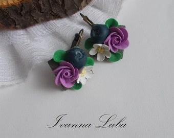 bilberry earrings, roses earrings, purple roses earrings, gift for her, bridesmaids earrings, rustic bridal jewellery, bilberry jewellery