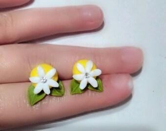 lemon earrings, fruit earrings, yellow earrings, gift earrings, summer earrings, flower jewelry, bridesmaid earrings, bridesmaid gift
