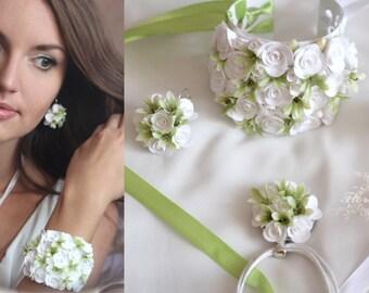 flower wedding set, roses pendant, white roses earrings, white bride, roses earrings, bridesmaids gift, wedding stuff, bride bracelet, bride