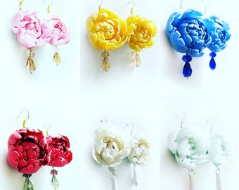 flowers earrings, peony earrings, gift for her, rustic jewelry, bride jewelry, bridesmaids gift, bride earrings, roses earrings, romantic