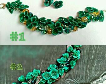 Hygrangea bracelet, green flower bracelet, green rose bracelet, green wedding, emerald jewellery, bridal bracelet , bridal corsage, custom