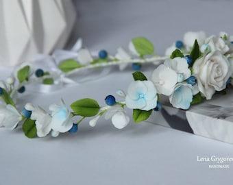 flower wreath, cold porcelain, rose wreath, blue hydrangea, rose flower crown, rustic girl, bridesmaids wreath, hydrangea wreath, white