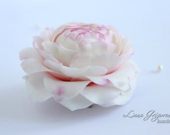 peony brooch, flower hairclip, cold porcelain, wedding stuff, groom boutonniere, peony hair, bridesmaids hair, pink headband, pink flower
