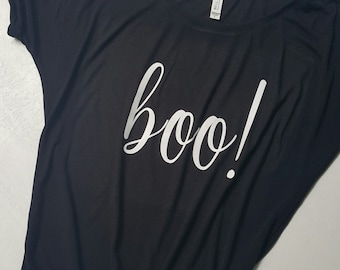 BOO!  Comfy/ Slouchy/ relaxed fit Halloween tshirt.  Fun Holiday Shirt