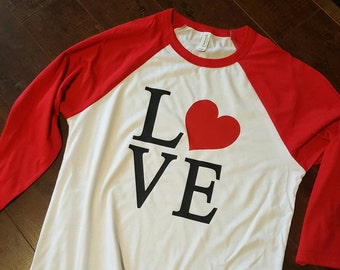 LOVE Valentines Day baseball tee