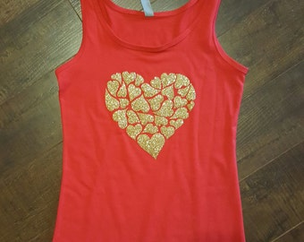 Valentines Day gold heart of hearts tank