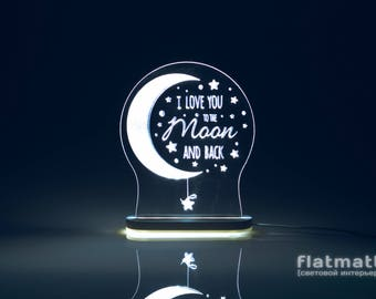 I love you to the moon and back - acrylic lamp with selected color backlight, gift, light interior design, LED night light, free shipping