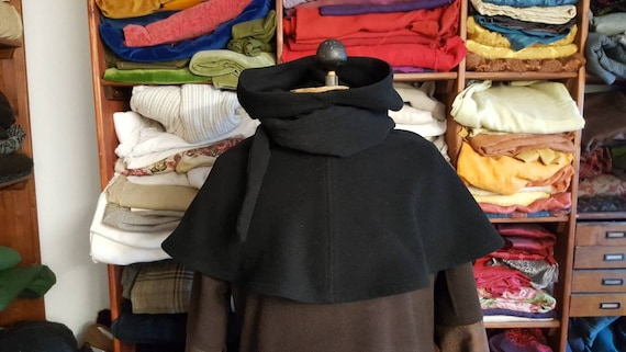 Gugel in wool black, Gugel Medieval, Medieval gugel, hooded collar,  medieval, fantasy, larp