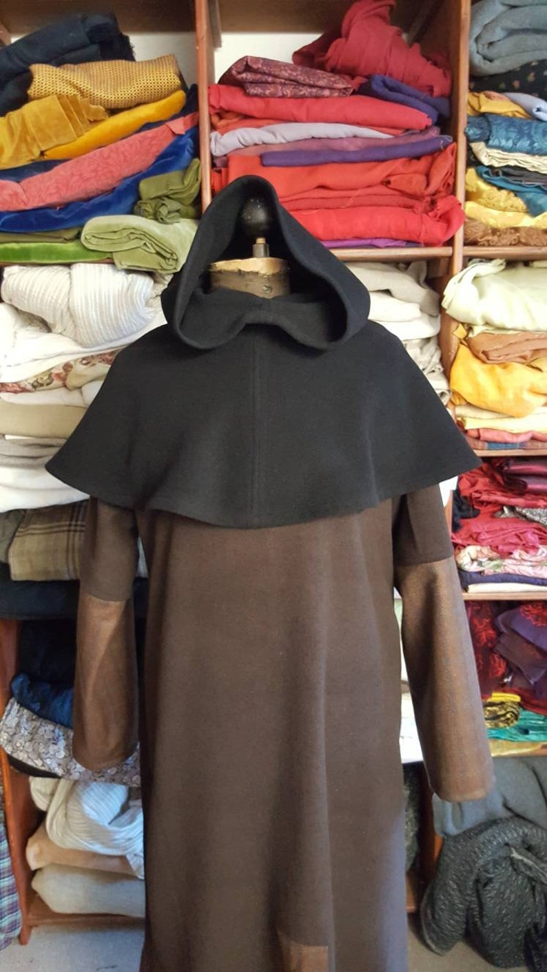 Gugel in wool black medieval hooded collar larp fantasy Gugel Medieval Medieval gugel