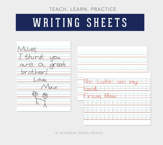 Practice Writing Learning to Write lined sheets Teaching | Etsy