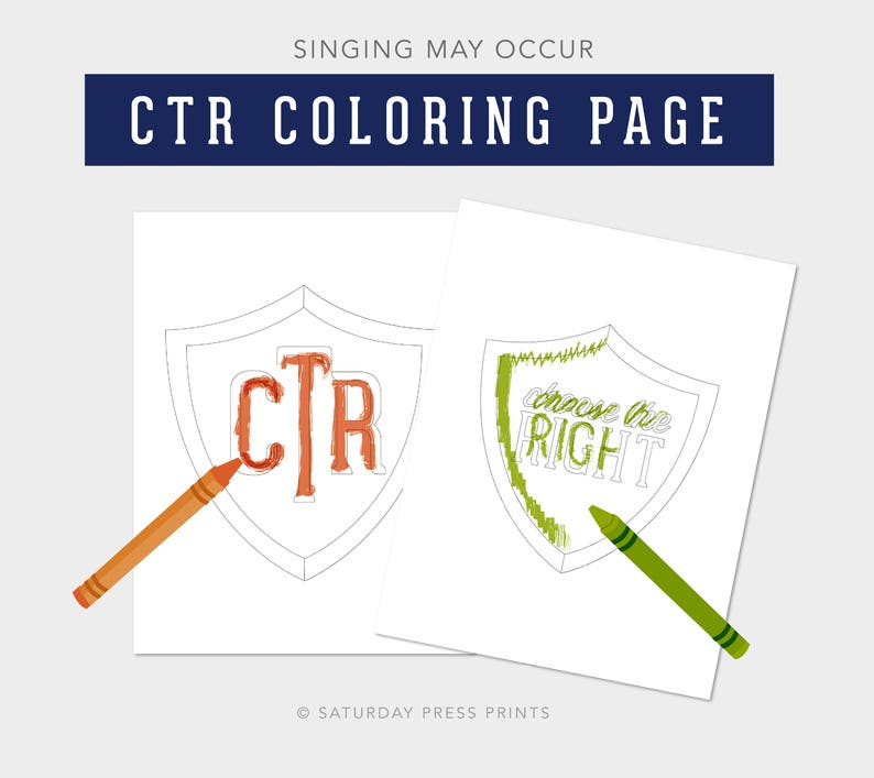 Choose The Right Coloring Page Ctr Shield Lesson Helps Etsy