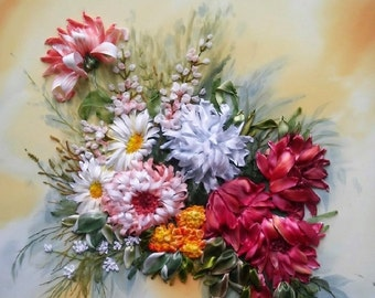 Pictures embroideryRoseLilacEmbroideryPicturesDecorGiftEmbroidery picturesWer paintingEmbroidery design flowersEmbroiderysDecor on the walls