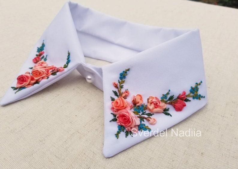 false shirt collar \u00a0decorative collar \u00a0patch collar shirt gift wrap,handwork embroidery with ribbons, fake shirt collar collar for women